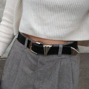 Vintage Black 80's 90's Buckle Belt 9 10 Trendy